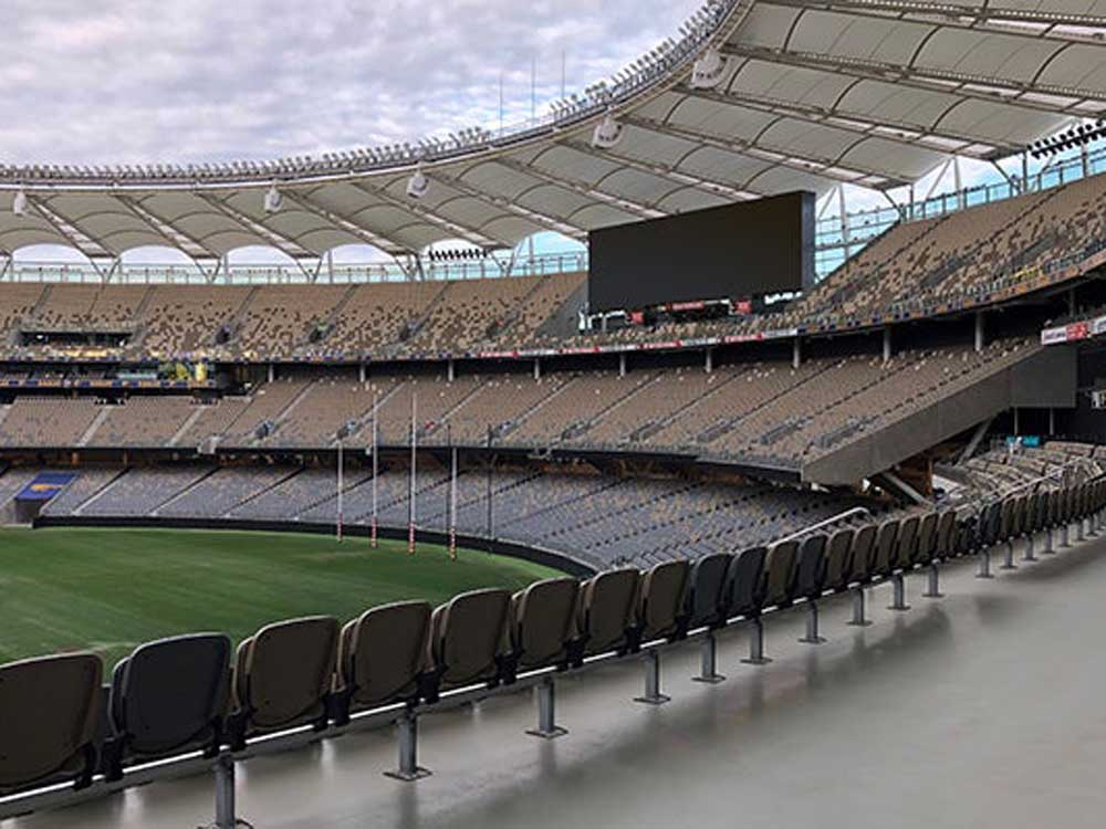 Perth Stadium showcases an eye-catching roof canopy made possible by structural steel