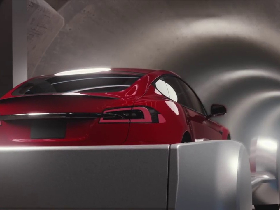 An impression of Elon Musk's proposed underground network of 'skating' cars. Image: YouTube